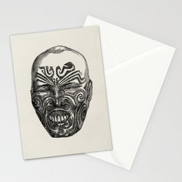 Vintage tattooed tribal warrior design Stationery Cards