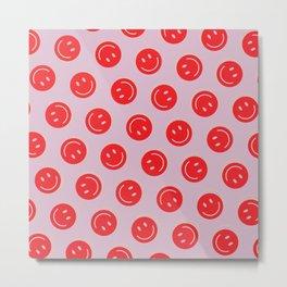 All Smiles Good Vibes Polka Dot  Metal Print