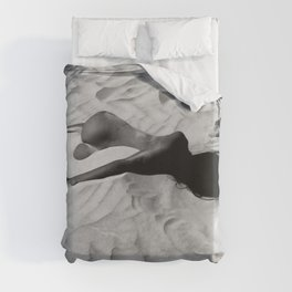 'All of Me' reclining nude brunette female form black and white photograph / art photography  Duvet Cover