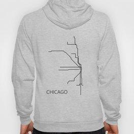 Chicago Metro Map - Black and White Art Print Hoody