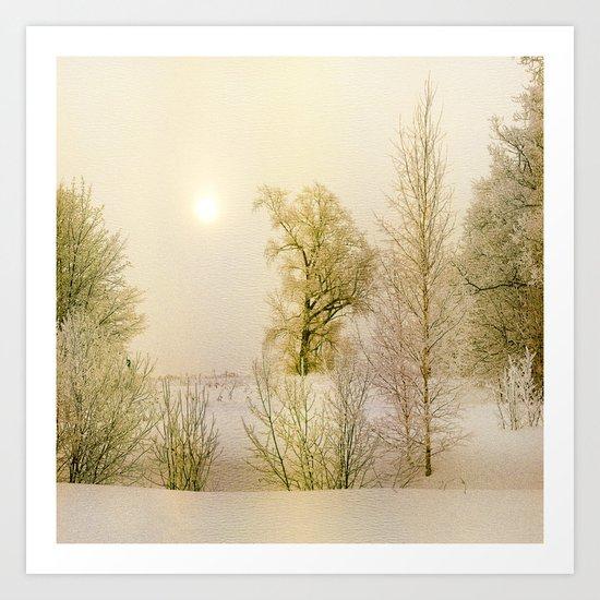 Golden Winter Forest Art Print
