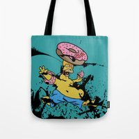 simpsons Tote Bags featuring Simpsons 25th by sinonelineman