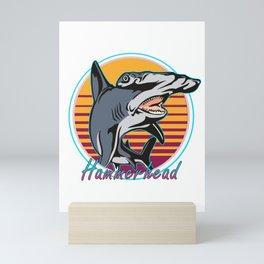 Vintage Retro 80s Art Hammerhead Shark Novelty Gift Mini Art Print