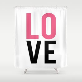 LOVE Block Quote Pink and Black Shower Curtain
