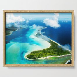 """French Polynesia's Secluded """"Secret Island"""": Aerial View Serving Tray"""