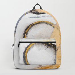 abstract circles blue, peach and gold illustration Backpack