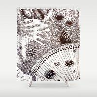 zentangle Shower Curtains featuring Zentangle by Marisa Toussaint