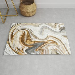 Gold, White, and Gray Abstract Painting Rug