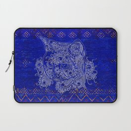 (N20) Tribal Cute Cat Hand Drawing, Traditonal Moroccan Carpet Background Laptop Sleeve