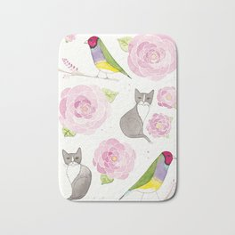 Gouldian Finches and Tuxedo Cats Bath Mat