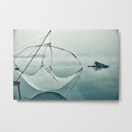 Frozen Fishing net Metal Print