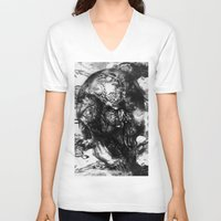 psychadelic V-neck T-shirts featuring Black and White Psychadelic skull print  by Seawolf Designs