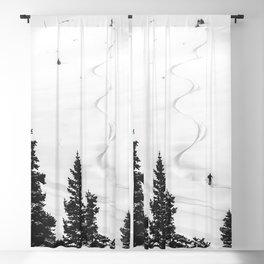 Backcountry Skier // Fresh Powder Snow Mountain Ski Landscape Black and White Photography Vibes Blackout Curtain