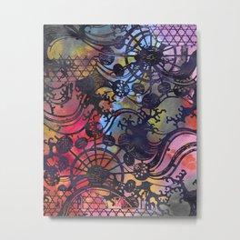 Japanese Stencil Pattern #2 | Flowing Water Waterwheel Basket Weave | Charcoal Multi Watercolor Metal Print