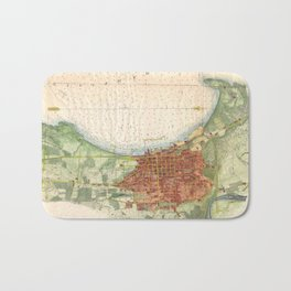 Vintage Map of Burlington Vermont (1872) Bath Mat