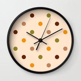 Retro 70s small polka dots orange, brown on cream Wall Clock