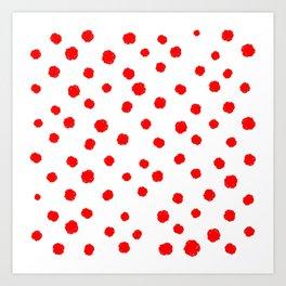 Hand-Drawn Dots (Red & White Pattern) Art Print