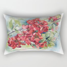 Watercolor Apple quince bloom Rectangular Pillow