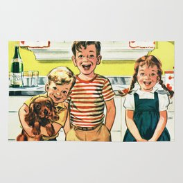 Vintage Illustration of Three Kids Rug
