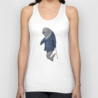 suits Tank Tops featuring Animals in Suits - Porpoise by Katadd