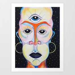Third Eye Alien Geometric Painting Ascension Clairvoyant Channeled ARtwork Art Print