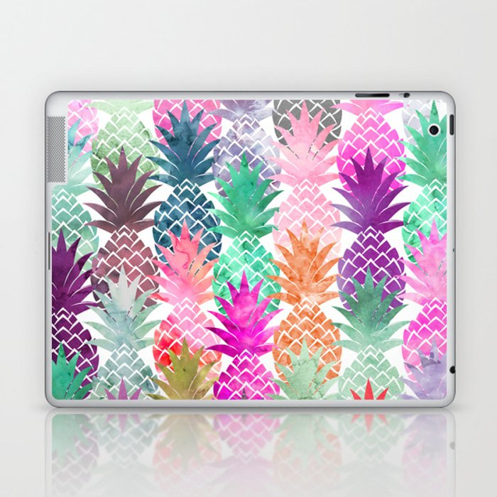 9994374ce160d Bright exotic pineapples pastel watercolor pattern Laptop & iPad Skin by  girlytrend