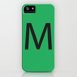 Letter M Initial Monogram - Black on Nephritis iPhone Case