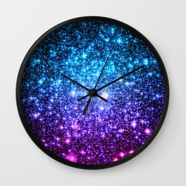 Glitter Galaxy Stars : Turquoise Blue Purple Hot Pink Ombre Wall Clock