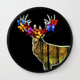 Flower deer Wall Clock