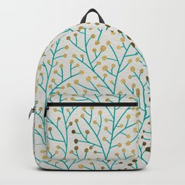 Berry Branches – Turquoise & Gold Backpack