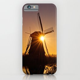 Dutch Windmills of Kinderdijk at sunrise iPhone Case