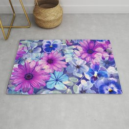 Dark pink and blue floral pattern Rug