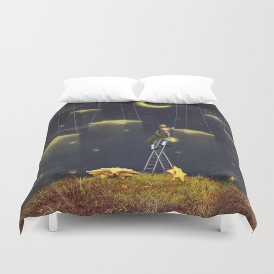 Man reaching for stars  at top of tall ladder Duvet Cover