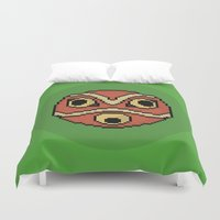 princess mononoke Duvet Covers featuring Pixel Princess Mononoke Mask by Rory-Mackenzie