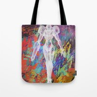 metroid Tote Bags featuring Metroid by Bradley Bailey