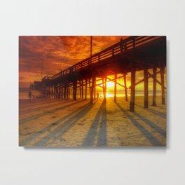 Sunset At The Pier Newport Beach California Metal Print