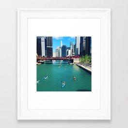 Chicago River Kayaks Framed Art Print