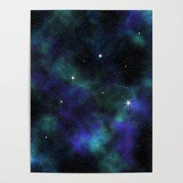 Blue Green Galaxy Poster