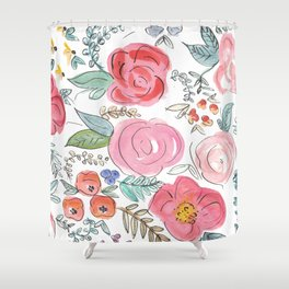 Watercolor Floral Print Shower Curtain