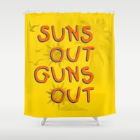 guns Shower Curtains featuring Guns Out by Free Specie