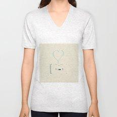 ANALOG zine, Retro white music cassette and blue heart shaped tape on beige background Unisex V-Neck