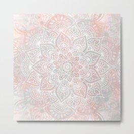 Mandala, Yoga, Love, Coral and Gray, Wall Art Boho Metal Print