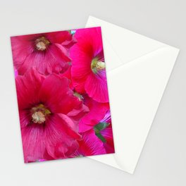 FUCHSIA PINK GARDEN HOLLYHOCKS Stationery Cards