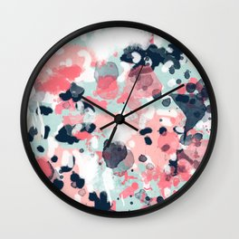 Isla - abstract painting navy mint coral trendy color palette summer bright decor Wall Clock