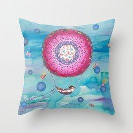 Hot Air Balloon , Sleeping Girl and Fairies Throw Pillow