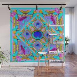 Purple Fantasy Turquoise Butterflies Morning Glories art Wall Mural