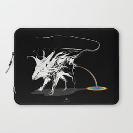 Rat and rainbow. White on dark on background - (Red eyes series) Laptop Sleeve