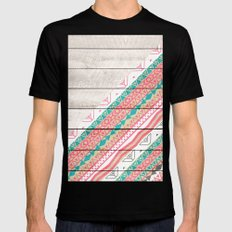 Andes Tribal Aztec Coral Teal Chevron Wood Pattern Mens Fitted Tee MEDIUM Black
