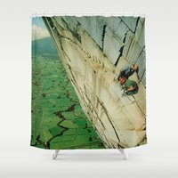 milan Shower Curtains featuring vertigo by Jesse Treece