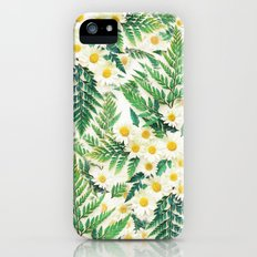 Textured Vintage Daisy and Fern Pattern  Slim Case iPhone SE